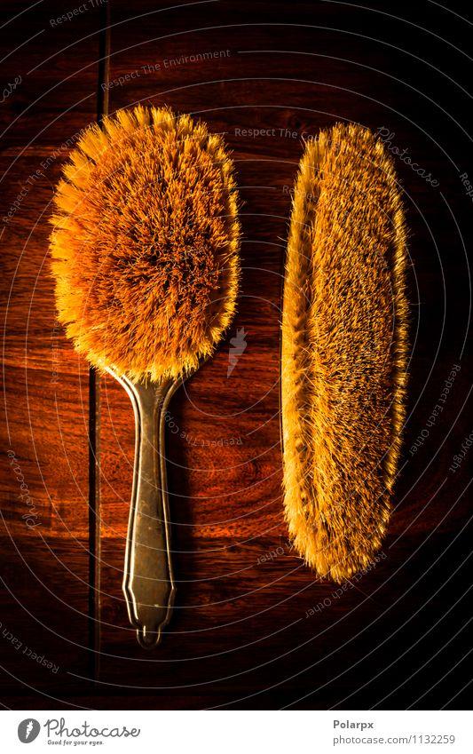 Bürsten auf Massivholz Stil Design Spa Dekoration & Verzierung Schreibtisch Tisch Werkzeug Natur Baum Mode Behaarung Haarbürste alt dunkel natürlich retro braun