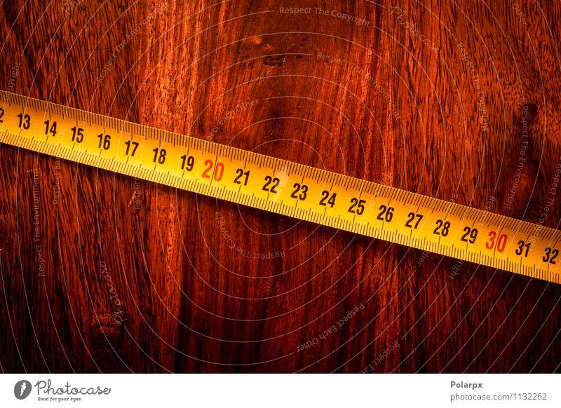 Maßband auf Holz Design Freizeit & Hobby Ferne Möbel Schreibtisch Arbeit & Erwerbstätigkeit Beruf Industrie Handwerk Werkzeug bauen gelb weiß Genauigkeit