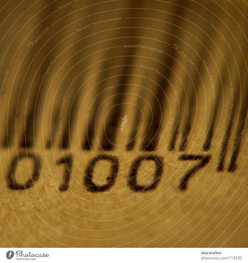 Anno 1007 schwarz Linie braun Verpackung nah Ziffern & Zahlen Medien Post beige Paket Briefumschlag Barcode Pergamentpapier