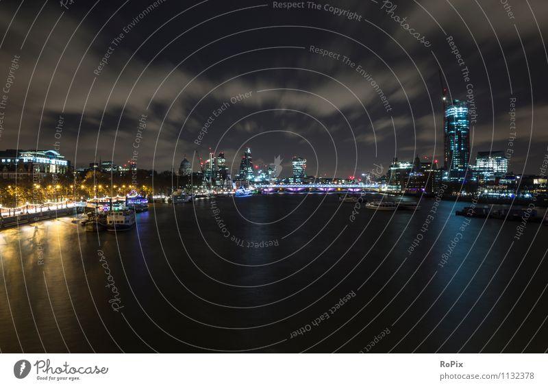 London Himmel Ferien & Urlaub & Reisen Stadt Wasser Landschaft Wolken Architektur Gebäude Stimmung glänzend Energiewirtschaft Tourismus Hochhaus Zukunft Brücke