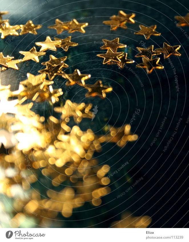 Schimmer Himmel blau Weihnachten & Advent schön Winter Spielen Wärme Stimmung Lampe Feste & Feiern glänzend gold Stern (Symbol) außergewöhnlich Stoff Dekoration & Verzierung