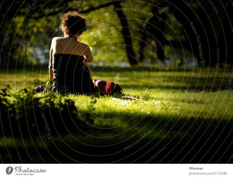 stadtpark Park Erholungsgebiet Baum Sträucher Pflanze Wiese Grünfläche Oberkörper Frau Student ruhend lesen grün Samt samtig Schatten Sommer Nachmittag Physik