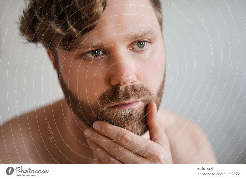 Mit Bart zum Erfolg Mensch Jugendliche Mann nackt schön 18-30 Jahre Erwachsene Gesicht natürlich Denken Kopf maskulin Behaarung nachdenklich blond Haut