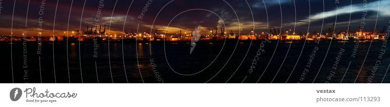 Elbpanorama Containerterminal Abend Sonnenuntergang Wolken Kran Panorama (Aussicht) dunkel Licht Stimmung Hafen Hamburg Elbe Wasser orange Schaltpult Dockland
