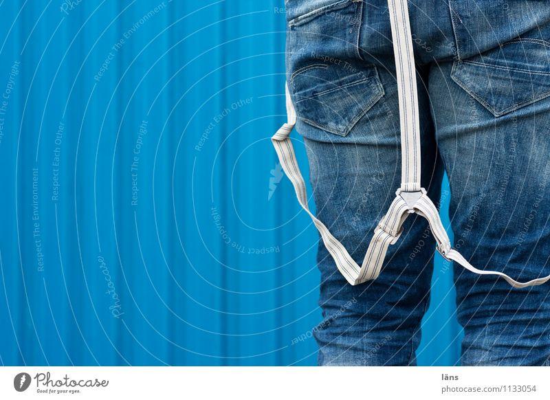 Rømø   Hosenträger blau Fassade authentisch einzigartig Jeanshose gestreift Blech