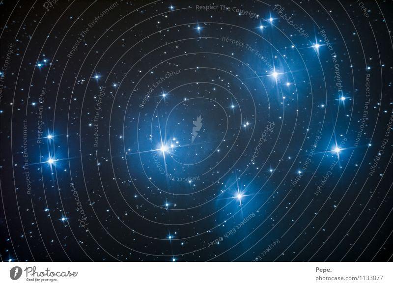 Plejaden Himmel Nachthimmel Stern Horizont Mond Winter glänzend blau Freude Glück Zufriedenheit Gelassenheit Natur Weltall Galaxie Sternbild Farbfoto