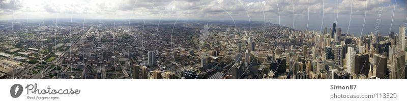 Chicago Skyline Panorama (Aussicht) Sears Tower Hochhaus Vogelperspektive Ferne Panorama (Bildformat)