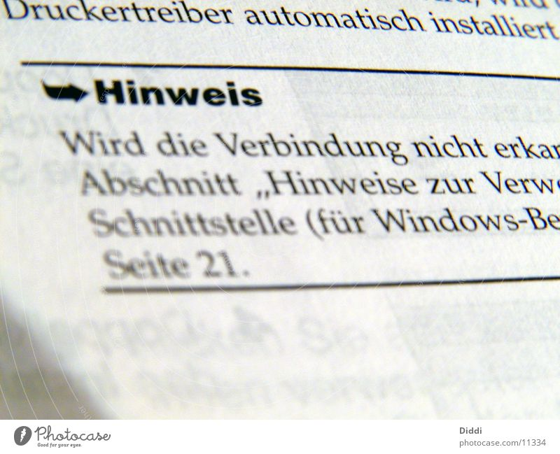 Hinweis Drucker Papier Elektrisches Gerät Technik & Technologie Schriftzeichen