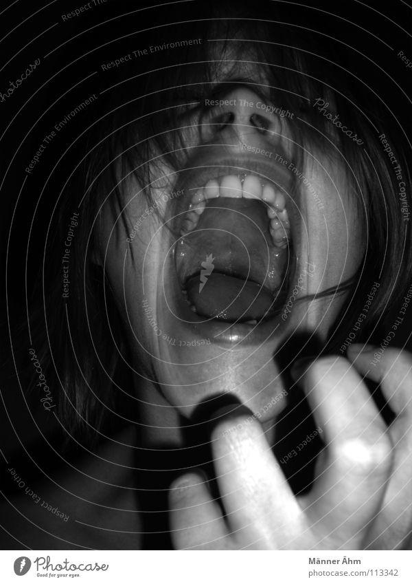 Du hast schon wieder die letzte Milchschnitte gegessen... !!!! Frau Hand Gesicht sprechen Gefühle Denken Kraft Angst Kraft Zähne Wut schreien Leidenschaft Panik Wissen Ärger