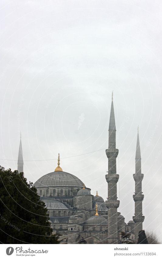 Blaue Moschee in grau II schlechtes Wetter Istanbul Gotteshäuser Ferien & Urlaub & Reisen Religion & Glaube Islam Farbfoto Gedeckte Farben Menschenleer