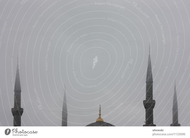 Blaue Moschee in grau IV schlechtes Wetter Nebel Istanbul Gotteshäuser Minarett Sehenswürdigkeit Spitze Religion & Glaube trüb Farbfoto Gedeckte Farben