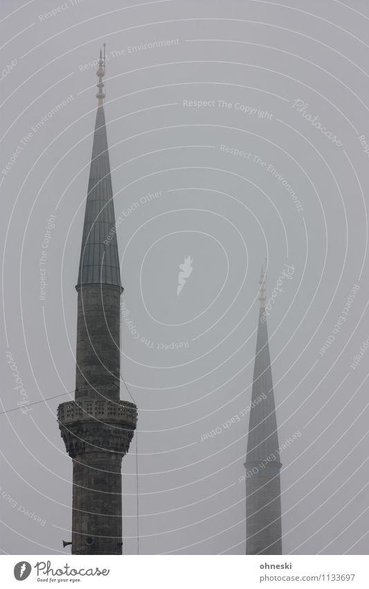 Blaue Moschee in grau III schlechtes Wetter Nebel Istanbul Gotteshäuser Minarett Religion & Glaube trüb dunkel Farbfoto Gedeckte Farben Außenaufnahme