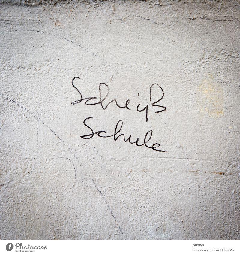 Schulfrust Bildung Schule Mauer Wand Schriftzeichen authentisch einfach rebellisch grau schwarz weiß Stress Ekel Verachtung Ärger Verbitterung Frustration