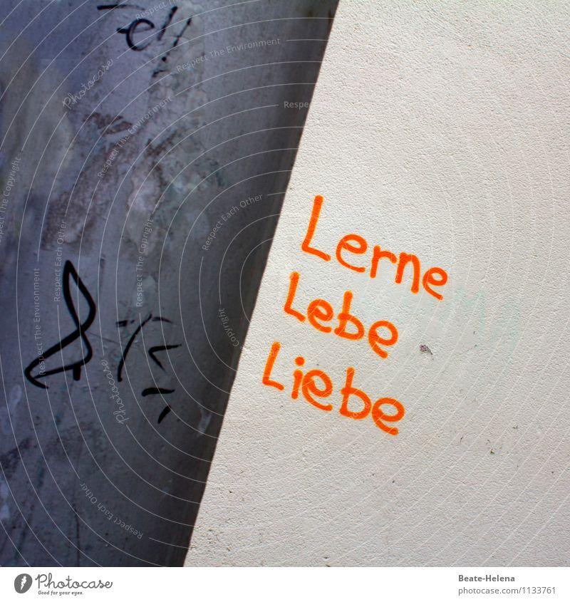 Fast (m)ein Wahlspruch Stadt weiß schwarz Leben Wand Graffiti Gefühle Liebe Gebäude Mauer Glück orange Zufriedenheit Schilder & Markierungen authentisch Schriftzeichen