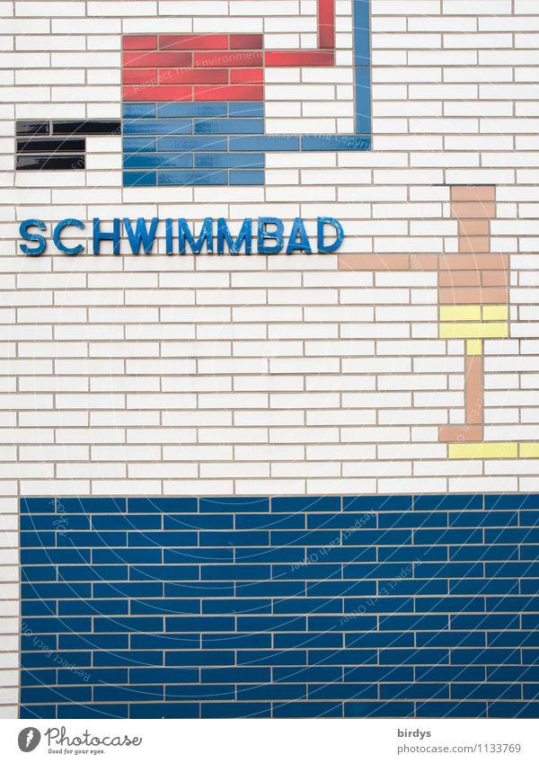 mal wieder schwimmen gehen Leben Schwimmbad Freizeit & Hobby Schwimmsport Sport Schwimmen & Baden Mauer Wand Fassade Ornament springen außergewöhnlich
