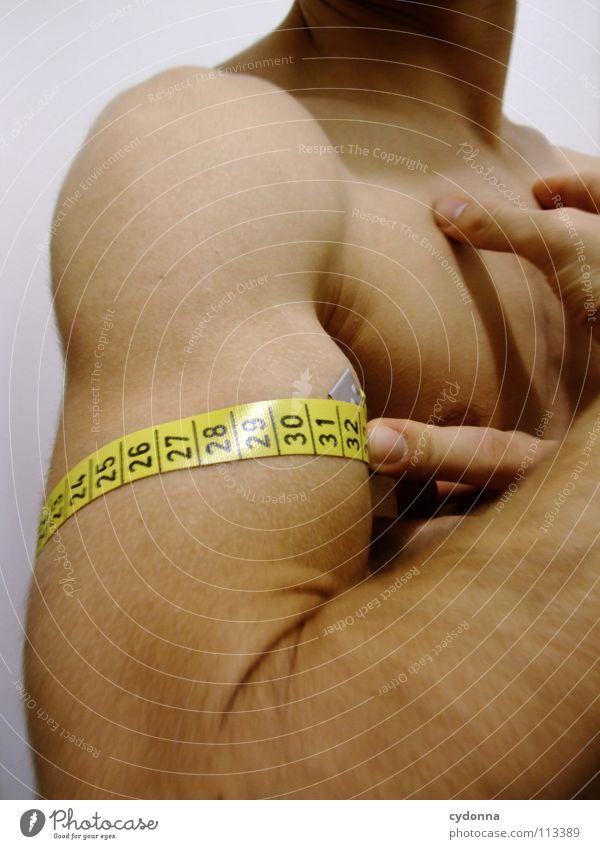 Nimm mich, wie ich bin! Mensch Mann schön gelb Sport Spielen nackt Körper Kraft Arme maskulin Erfolg Wachstum Macht Ziel Schmerz