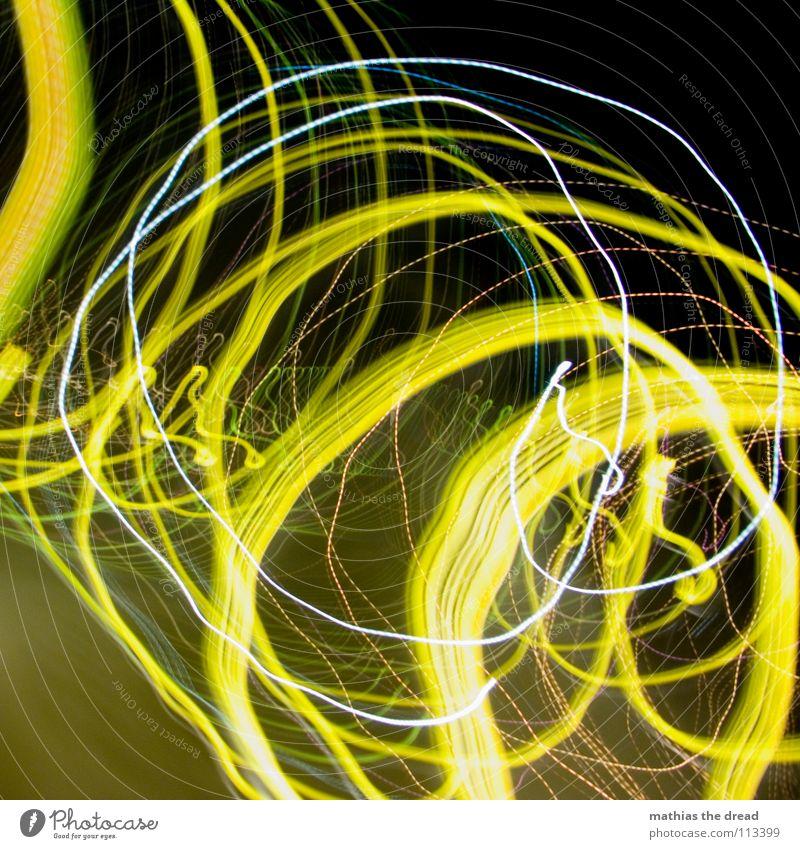 Das War Ein Langer Nachhauseweg! I Licht Kreis Lichtpunkt gelb weiß Rauschmittel Experiment Nacht dunkel schwarz verrückt Spielen Freude Langzeitbelichtung