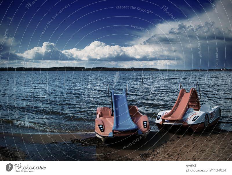 Mobiles Spaßbad Himmel Natur Ferien & Urlaub & Reisen blau weiß Landschaft ruhig Wolken Ferne Strand Umwelt Spielen Freiheit See Zusammensein rosa