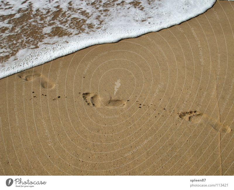 Fußspuren am Meer Wasser Sommer Strand Spielen Sand Spuren
