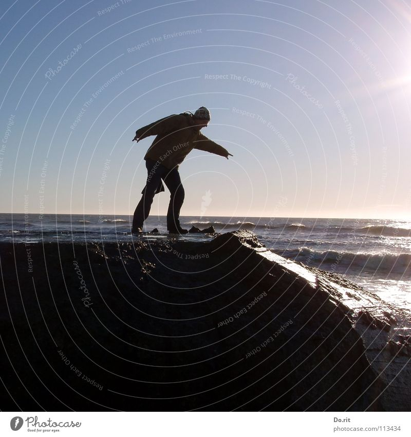 Psalm 139 Wasser Sommer Freude Strand Ferien & Urlaub & Reisen Zufriedenheit Küste Felsen gefährlich Schönes Wetter Nordsee Glätte Dänemark