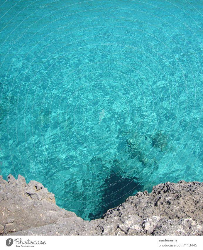 Klares Nass Wasser Meer blau Ferien & Urlaub & Reisen nass Klarheit türkis Mallorca Klippe