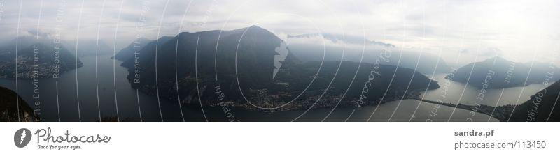San Salvatore Wasser Himmel dunkel Berge u. Gebirge See Nebel hoch Schweiz Italien Alpen Panorama (Bildformat) Kanton Tessin Lugano