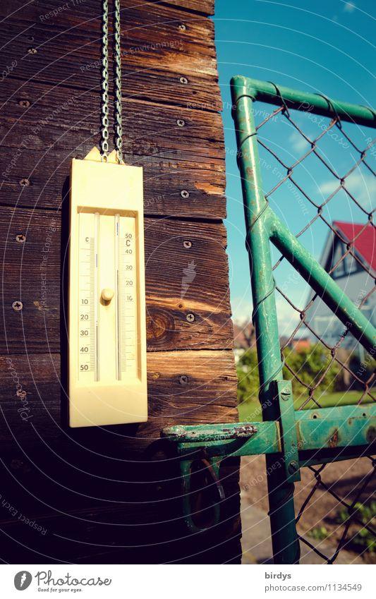 endlich Sonne Häusliches Leben Wolkenloser Himmel Frühling Sommer Garten Gartenhaus Gartentor Thermometer authentisch Originalität positiv Wärme Warmherzigkeit