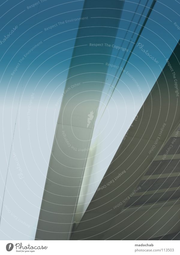 A85TRACT Y0UR W0RLD blau weiß Architektur hell Beton Brücke Dinge
