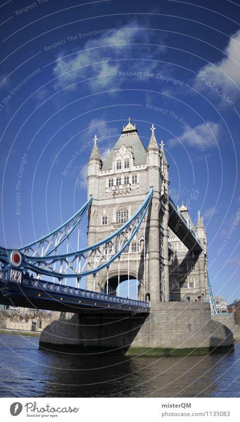 Tower Bridge. Kunst ästhetisch London London-Marathon Brücke England Großbritannien Blauer Himmel Themse Städtereise Sehenswürdigkeit Wahrzeichen Tourismus