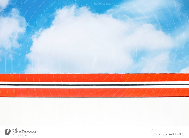la la la la laaaaaaa Umwelt Natur Himmel Wolken Sommer Klima Wetter Schönes Wetter Gebäude Mauer Wand Streifen blau orange rot weiß Farbfoto Außenaufnahme