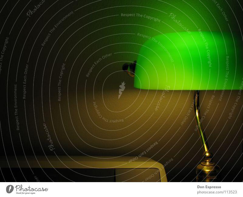 Grünes Licht #3 - Jetzt auch mit Drucker! grün Lampe Arbeit & Erwerbstätigkeit gold Schreibtisch gemütlich Arbeitsplatz spät Poker