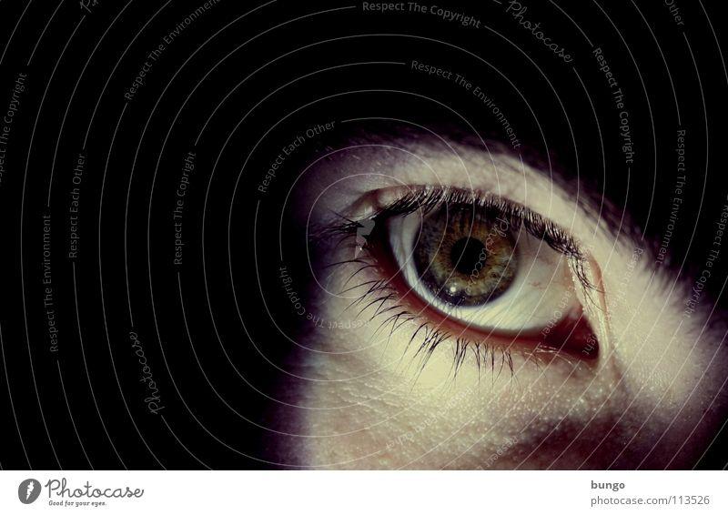 Alone in the dark Mann Gesicht Auge dunkel träumen Angst Haut bedrohlich gruselig Panik Wimpern Augenbraue Schrecken Schock Alptraum Pupille