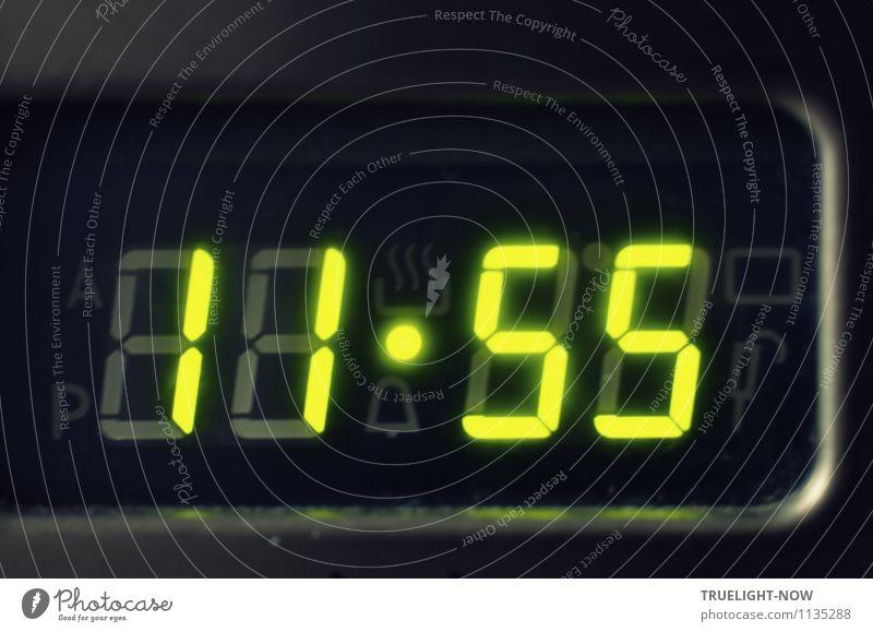 """Fünf vor Zwölf... Messinstrument Uhr Fortschritt Zukunft High-Tech Herd & Backofen Glas Metall Zeichen Ziffern & Zahlen """"Zeit Uhr"""" Digitaluhr grün schwarz"""