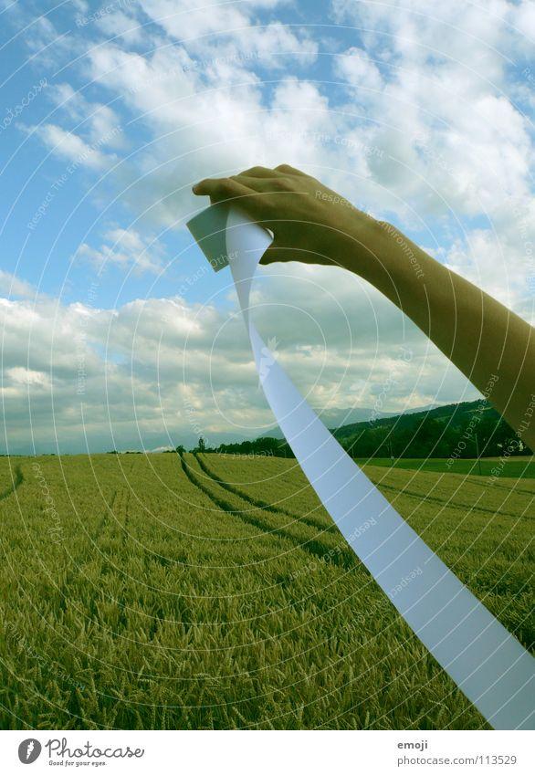 super verwendbares Foto!!! Papier Hand Feld Kornfeld Weizenfeld Sommer Frühling springen Herbst Wolken Himmel beschriften Medien Kommunizieren Buchstaben