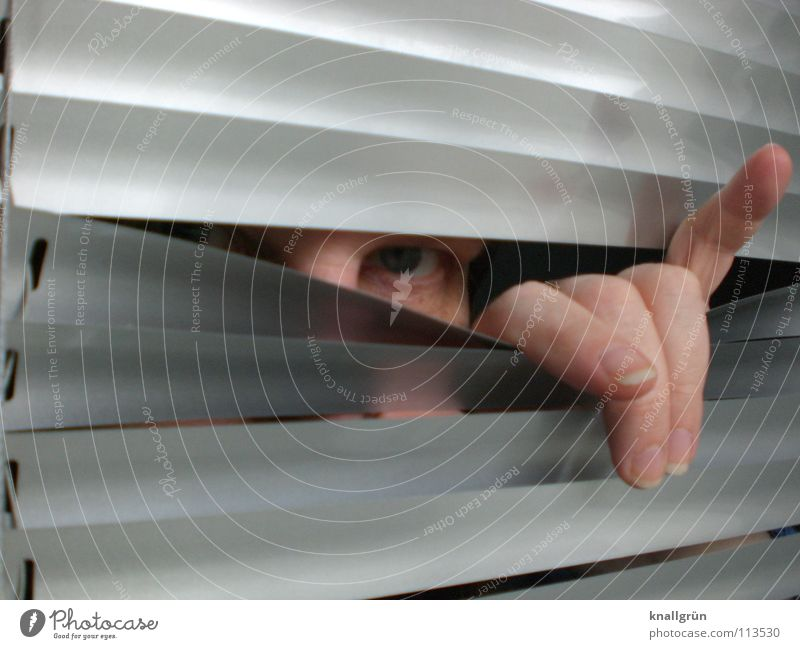Auf die vornehme Art Jalousie grau Hand Finger Frau Lamelle silber Auge abgespreizt Blick verstecken