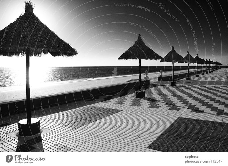 Rota del la luz Strand Palme Andalusien Sonnenschirm Hotel Gastronomie Küste strnad Sand Fliesen u. Kacheln