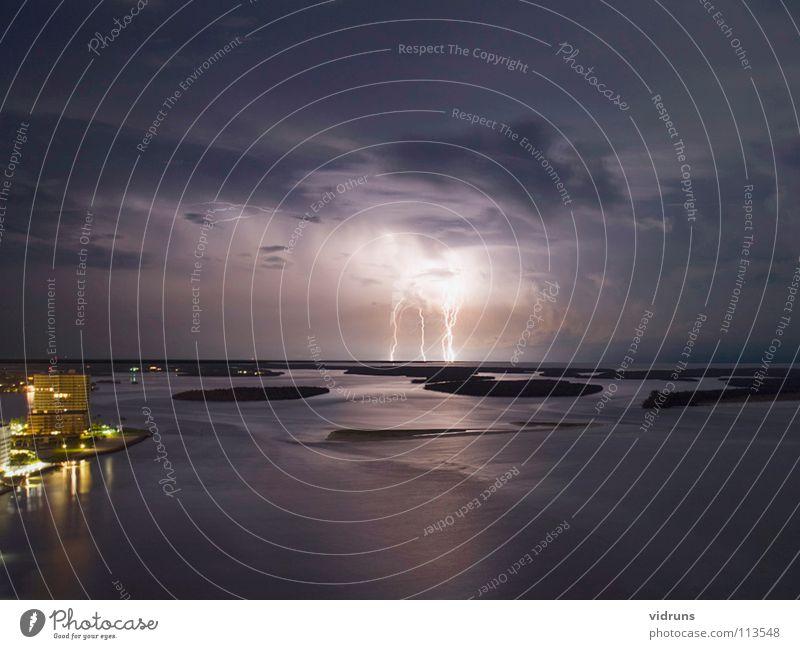 lighting Florida Gewitter Marco Island clouds night evening high up water