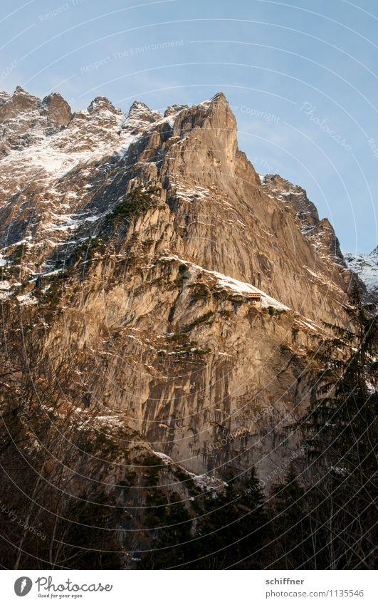 Oh Schreck, die Tiefe! Umwelt Natur Landschaft Felsen Alpen Berge u. Gebirge Gipfel Schneebedeckte Gipfel kalt alpin Berner Oberland Jungfrauregion Schreckhorn