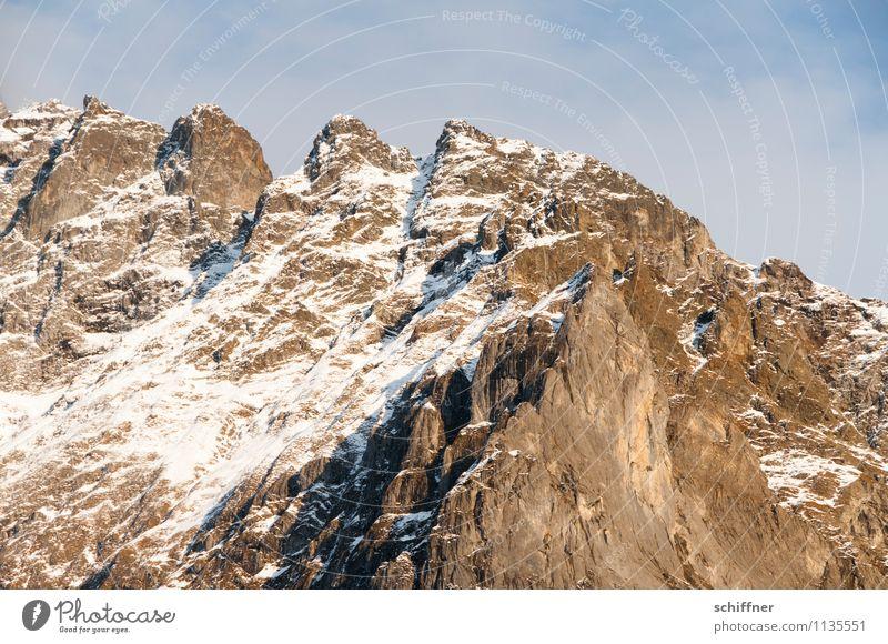 Oh Schreck, zack zack! Natur kalt Berge u. Gebirge Schnee Felsen Eis Schönes Wetter Gipfel Frost Alpen Schneebedeckte Gipfel Zaun Zacken Bergkette alpin