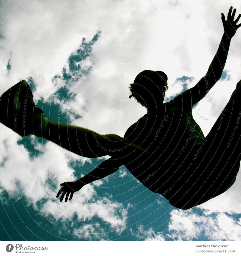AWAY! Himmel Mann Freude Wolken Spielen springen Beine fliegen Arme hoch Aktion zyan