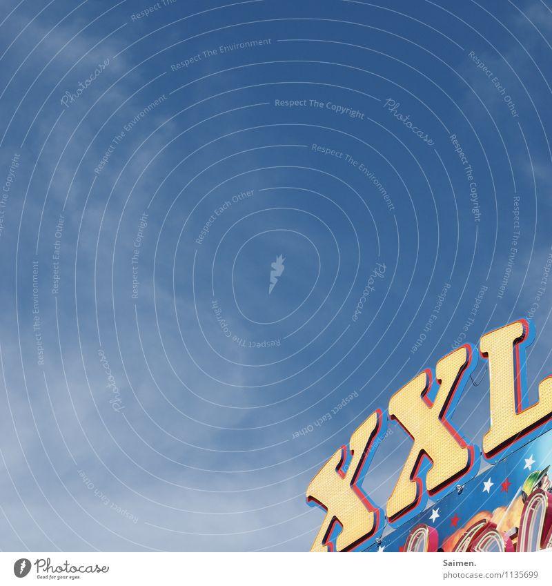 Riesenrummel Zeichen Schriftzeichen Ziffern & Zahlen Schilder & Markierungen blau gelb Erwartung Himmel XXL Jahrmarkt Freude Konsum mehrfarbig Außenaufnahme