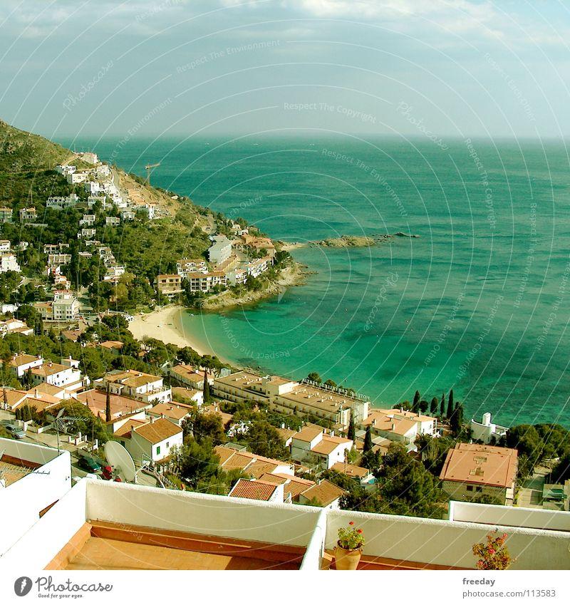::: Costa Brava ::: Spanien Wohnung Ferien & Urlaub & Reisen Haus ruhig Süden Physik Hintergrundbild weiß Balkon Romantik Stadt Sommer Hügel Berghang Blume Meer