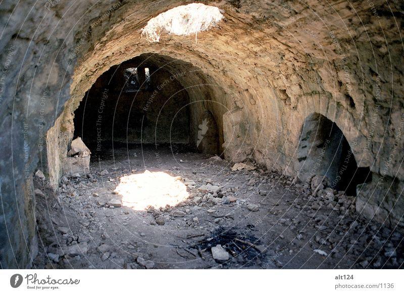 Lichteinfall Sonne Stein Mauer Architektur Tunnel