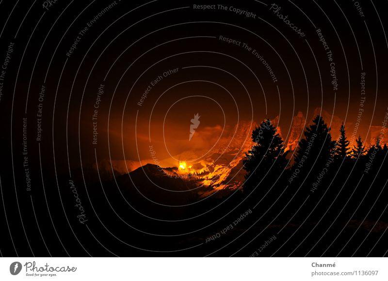 Illumination Landschaft Feuer Schnee Berge u. Gebirge Dents du Midi Schweiz Alpen Erholung ästhetisch außergewöhnlich Unendlichkeit orange schwarz Lichtspiel
