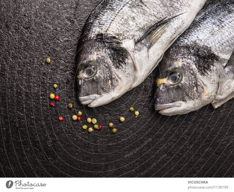 Dorado Fisch auf schwarzem Tisch Gesunde Ernährung dunkel schwarz Leben Stil Essen Hintergrundbild Foodfotografie Lebensmittel Design Ernährung Tisch Kräuter & Gewürze Fisch Küche Fisch