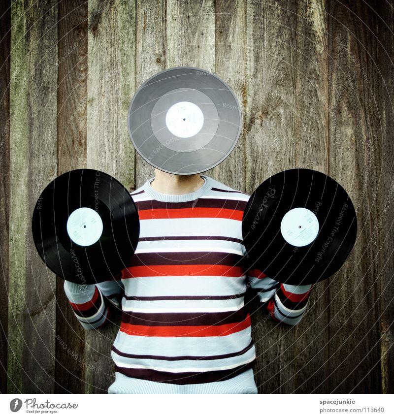 Tonträger Mann Freude Wand Musik Holz Pullover Diskjockey Leuchtturm Klang Schallplatte Single Rauschen Rascheln