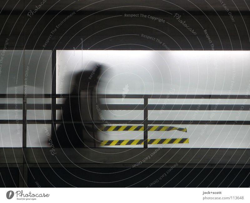 Beweg Dich Mensch weiß schwarz dunkel gelb Wand Leben Bewegung Wege & Pfade Mauer gehen laufen Beton Schnur Wandel & Veränderung Baustelle