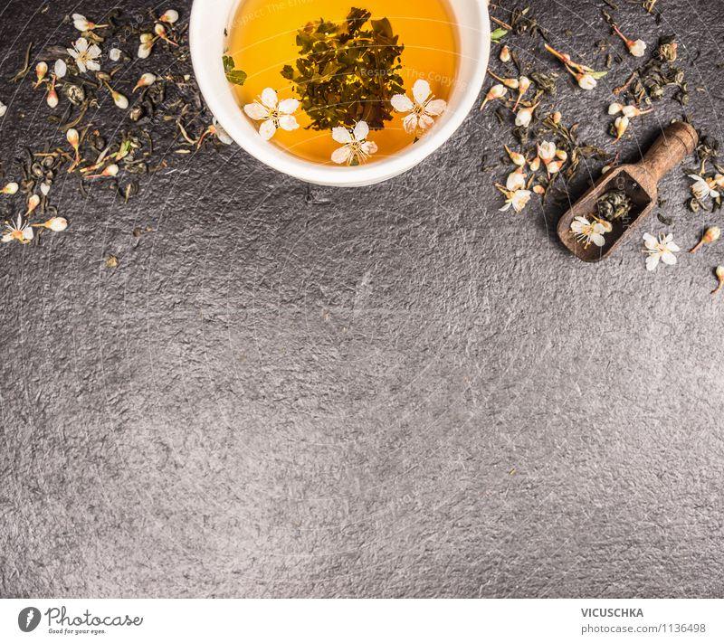 Grüner Tee trinken grün Gesunde Ernährung dunkel Leben Blüte Stil Hintergrundbild Lebensmittel Design frisch Tisch Getränk Tradition Duft Tee Tasse