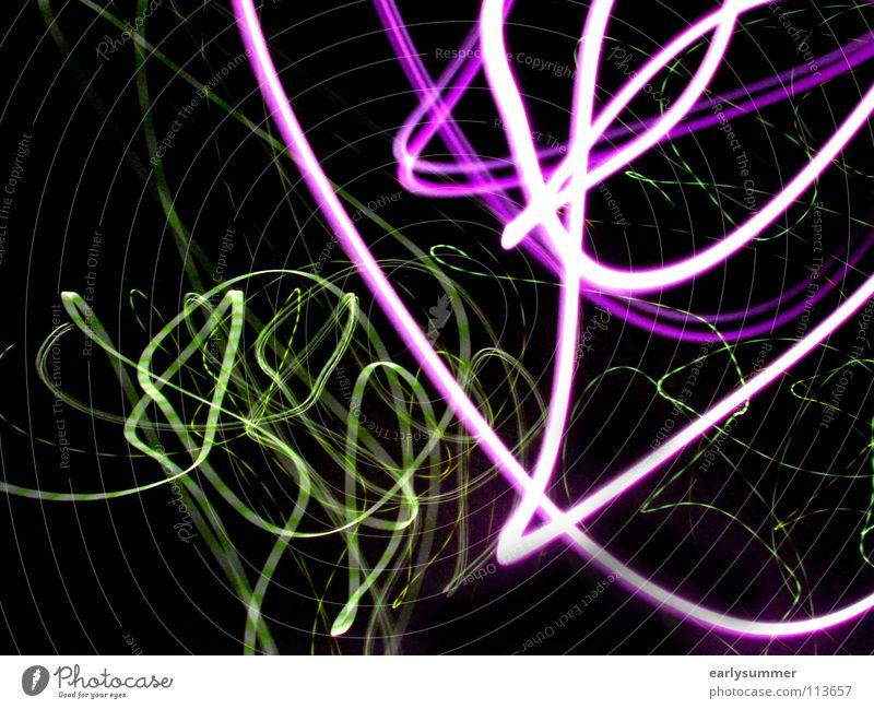 wilder Lichttanz grün Farbe dunkel Straße Bewegung Feste & Feiern Lampe gehen hell rosa Wildtier leuchten Tanzen Geschwindigkeit violett Medien