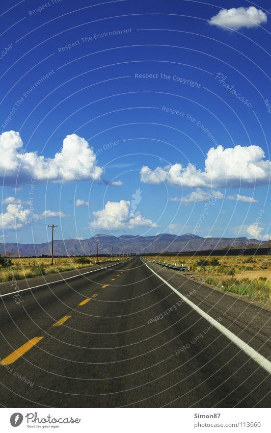 Route 66 Ferne Straße Landschaft USA Asphalt Unendlichkeit Amerika Richtung Verkehrswege Schönes Wetter